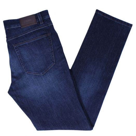 Mid-Wash Blue Slim Fit Stretch Wool Blend Jeans