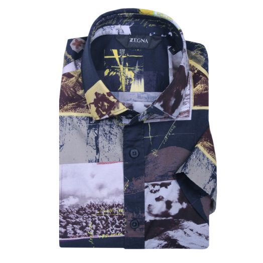Multicolour Oasi Zegna Print Short Sleeve Slim Fit Shirt