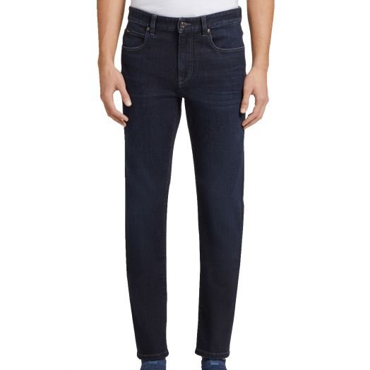 Navy Blue Luxe Twill Stretch Slim Fit Jeans