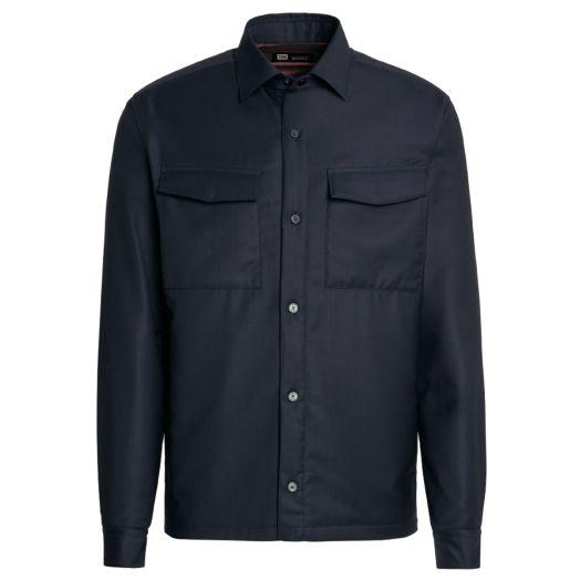 Navy Blue TECHMERINO™ Wool Overshirt