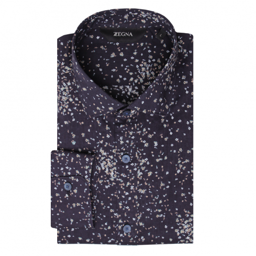 Navy Flower Print Long Sleeve Slim Fit Shirt