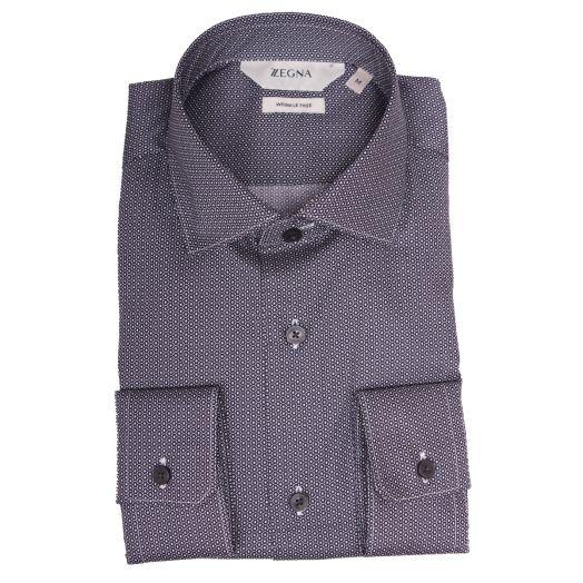 Navy Geometric Print Slim Fit Shirt