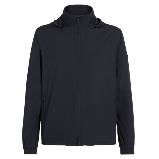 Navy Technical Fabric Hooded Jacket