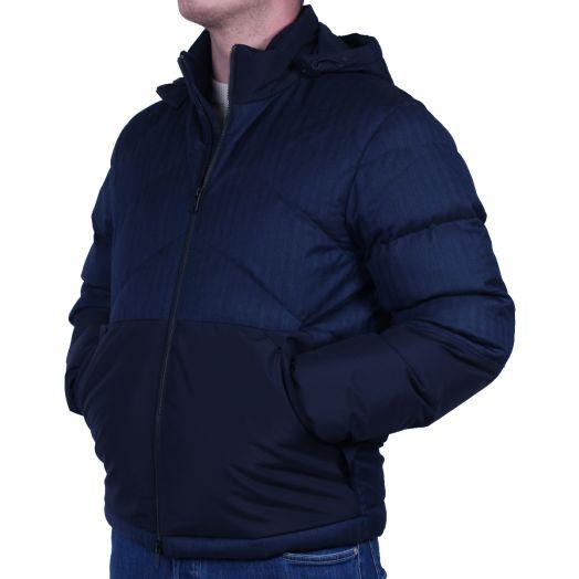 Navy #UseTheExisting™ Wool Herringbone Down Jacket
