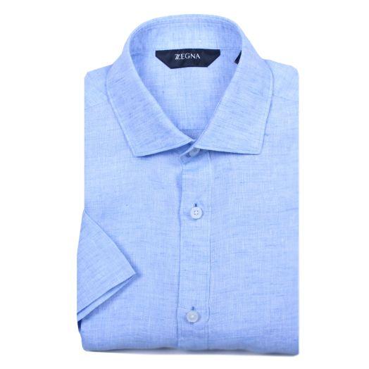 Pastel Blue Short Sleeve Slim Fit Shirt