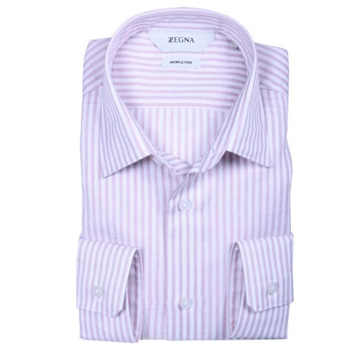Pink & White Stripe Wrinkle Free Slim Fit Shirt