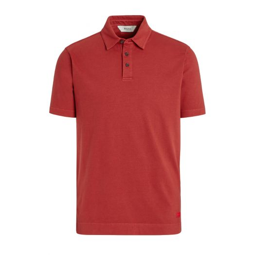 Rusty Red Stretch Cotton Short-Sleeve Polo