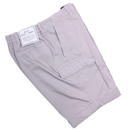 Stone Stretch Cotton & Linen Cargo Shorts