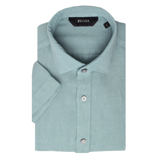 Teal Blue Short Sleeve Slim Fit Linen Shirt