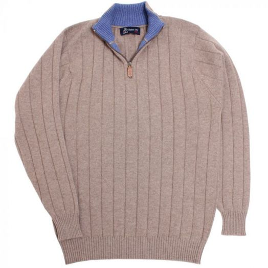The Wellington Cashmere Ribbed Zip Neck Sweater - Dark Natural - Lapis Blue