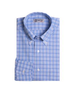 White and Blue Check Swiss Cotton Shirt