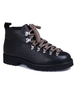 Black Leather M120 Handmade Fur Lined Boots
