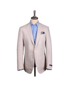 Beige Herringbone Weave Irish Linen Jacket