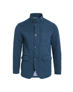 Blue Diamond Quilted Belseta Wool Lined Coat