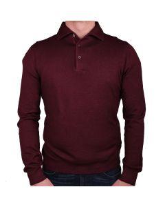 Burgundy Garment Dyed Wool Polo Sweater