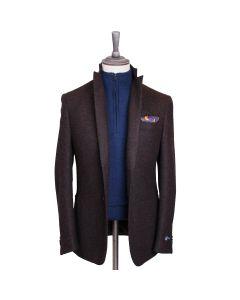 Chocolate Brown Soft Shoulder Shetland Wool Jacket
