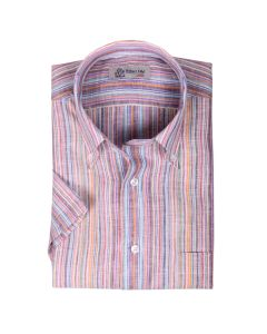 Multicolour Print Stripe Linen Short Sleeve Shirt