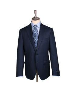 Navy Micro-Motif Merino Wool Twill Suit