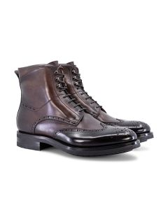 Dark Brown Leather Brogue Boots