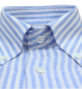Robert Old Blue and White Stripe Linen Shhirt