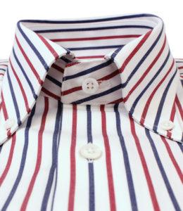 Robert Old burgundy, navy and white stripe shirt