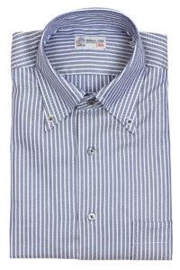 Navy Herringbone Weave Stripe Cotton Shirt