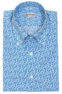 Blue Micro-print Floral Cotton Shirt