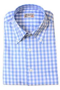 Sky Blue and White Check Shirt