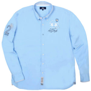 LA MARTINA LIGHT BLUE COTTON STRETCH SHIRT