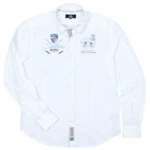 LA MARTINA WHITE COTTON LINEN BLEND SHIRT