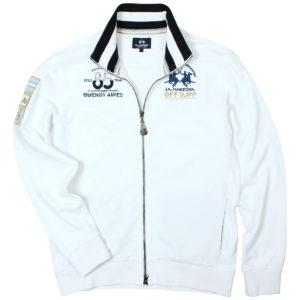 LA MARTINA WHITE FULL ZIP SWEATER