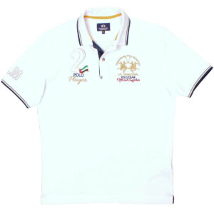 LA MARTINA WHITE CLASSIC PIQUE POLO SHIRT